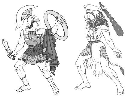 Отважный герой сражается с дикарем горных племен
