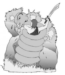 А что, изогнутые мечи против гигантских змей использовать удобнее?