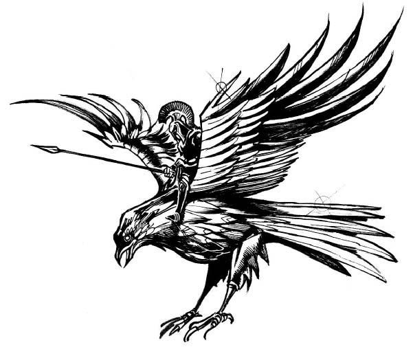Величественная Бронзовая птица, выполняющая атаку с налету