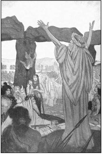 Друид проводящий какой-то величественный ритуал, среди толпы суеверных, необразованых, а потому легко поддающихся внушению варваров