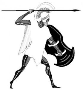 Копьеносец народа обсидиан, позирующий нашему иллюстратору