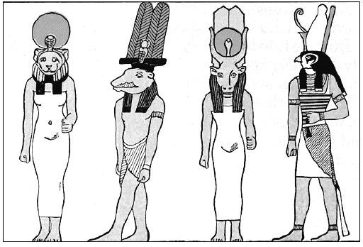 Боги элементов Хеттима: Сехмет, Собек, Хатхор и Гор