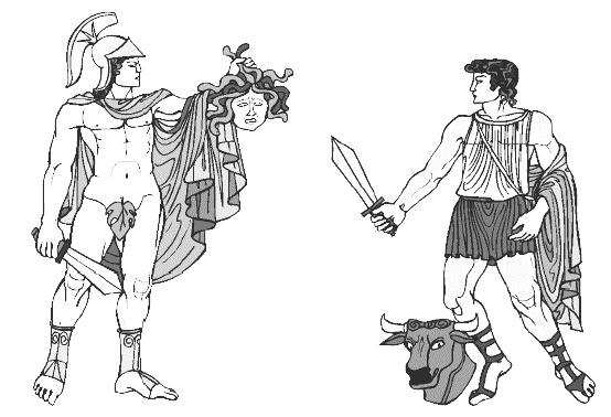 Два могущественных героя хвастаются своими последними достижениями (Прим.: Тот парень с головой горгоны, носит по видимому очень сильный артефакт - Магический Лист Защиты)
