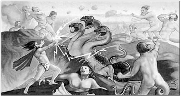 Могучий Зевс, циклопы, титаны и различные чудовища в захватывающей сцене одной из битв Войны Титанов