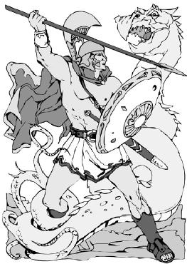 Храбрый герой сражается со свирепым чудовищем