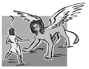 """Так, герой, - вот моя загадка: оно большое, имеет пару крыльев, женскую голову и пристрастие к человеческому мясу? Подсказка: оно также обладает способностью """"Быстрота Молнии"""""""