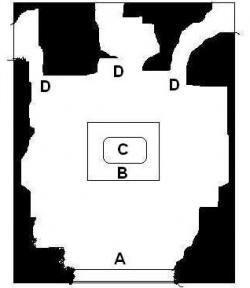Карта храма внутри. А - Вход, B - Алтарь, С - 40 футовая статуя Дагона, D - Проходы, бог знает куда ведущие
