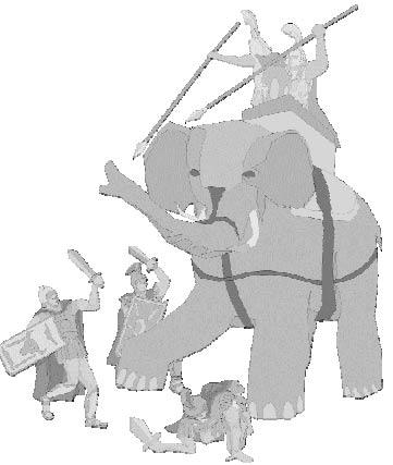 Да-да, боевой слон наводит ужас своим внешним видом!