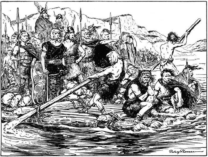 Непобедимые силы гордых галлейских воинов, сплавляющихся по реке Рене