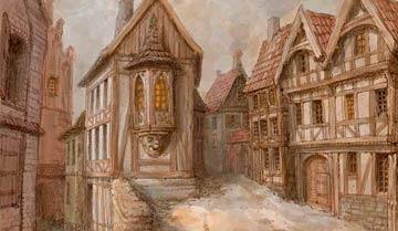 На какие районы разбит типичный средневековый город, где живут и чем занимаются его жители.